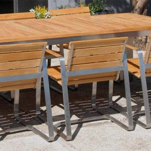 7 Pc Stainless steel Teak Modern Outdoor Table Set – Rialto Rectangle Table and 6 Rialto Chairs