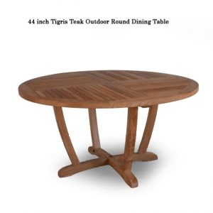 5 pc Teak Patio Dining Table Set – Tigris Round Table & Liberty Side Chair