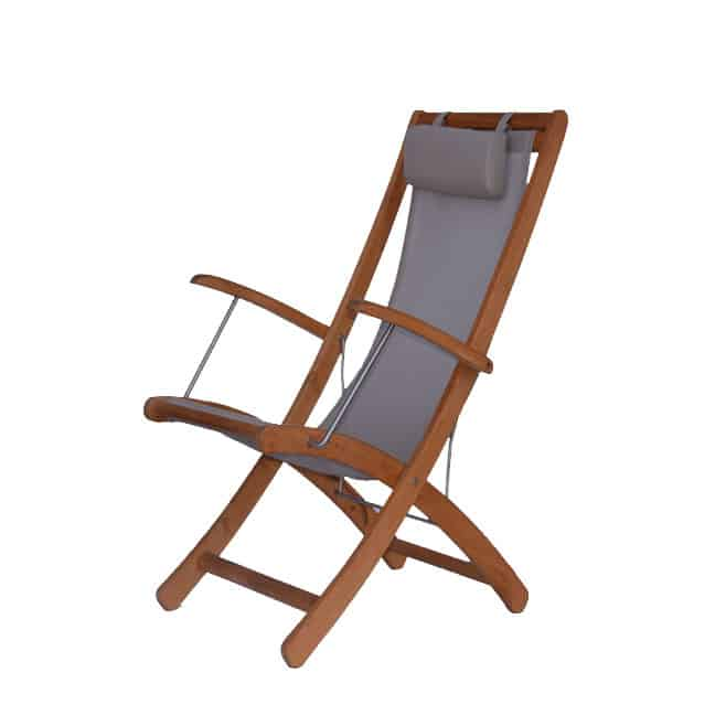 Marvelous Teak Sling Reclining Deck Chair Cruze Evergreenethics Interior Chair Design Evergreenethicsorg