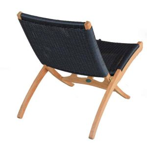 Mid Century Teak Black Wicker Woven Folding Club Chair  – Aksel