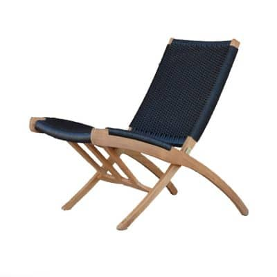 Aksel Mid century Teak folding Club chair – Black color