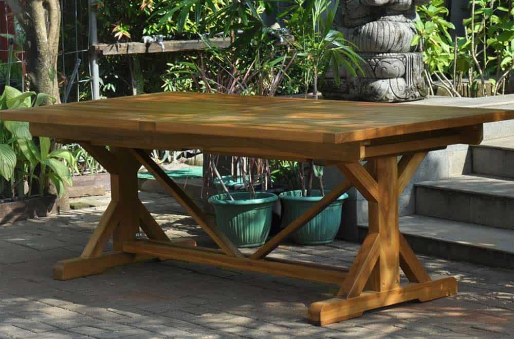 Teak Beam extension table for outdoor