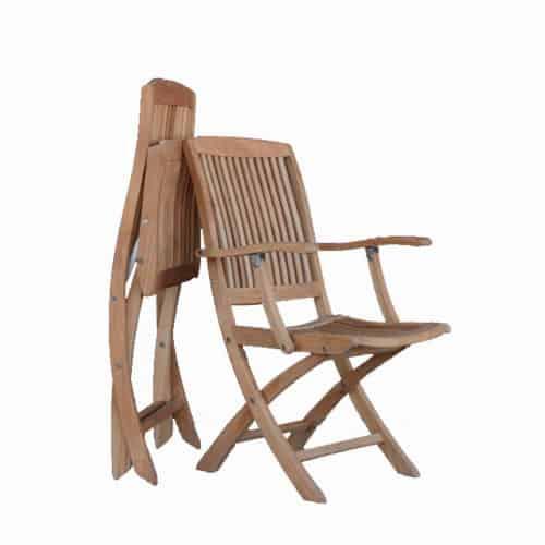Teak folding dining arm chair