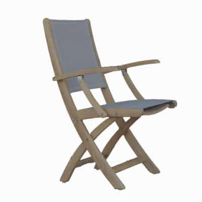 Teak Sling Patio Folding Arm Chair – Rivera