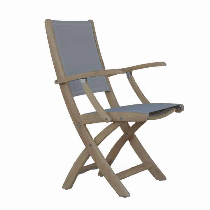 Teak Sling Patio Folding Arm Chair