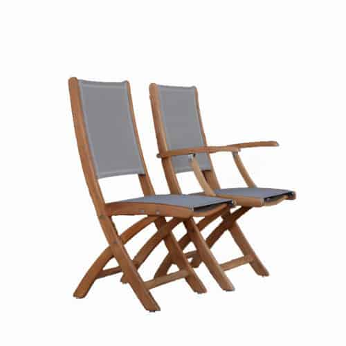 Teak sling chairs for outside use