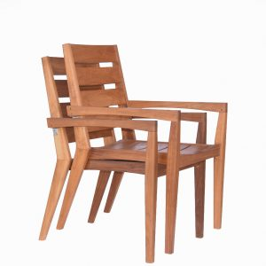 9 pc Mid-Century Teak Table Dining Set – Rectangular Table with Stacking Chairs- Olga