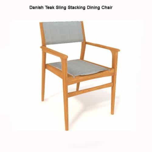 Teak sling stacking chair