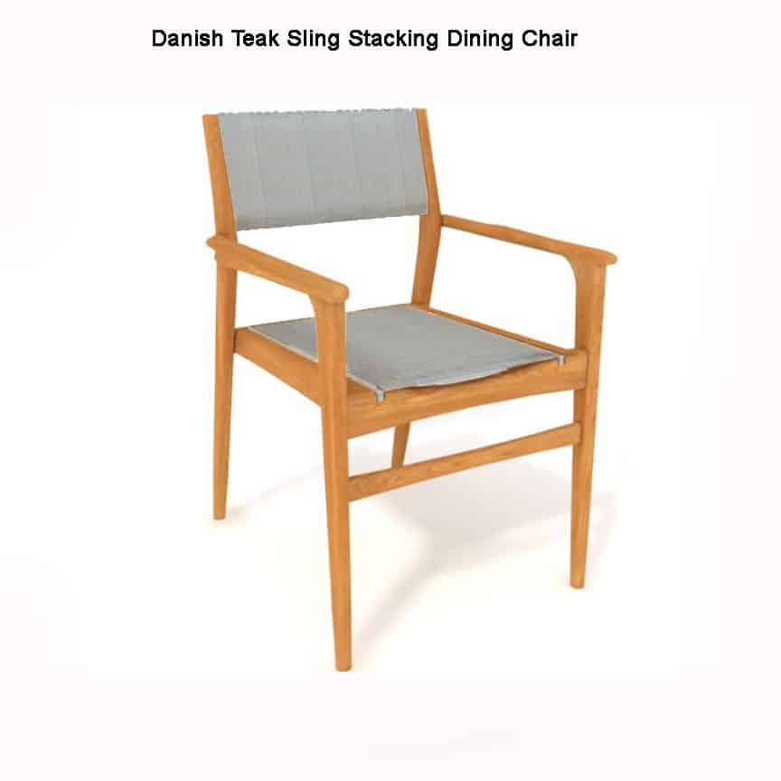 Teak Sling Patio Stacking Arm Chair – Danish – Teak Patio ...