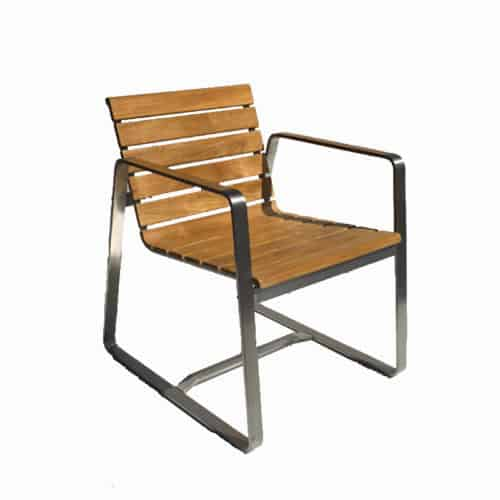 Modern patio steel teak chairs
