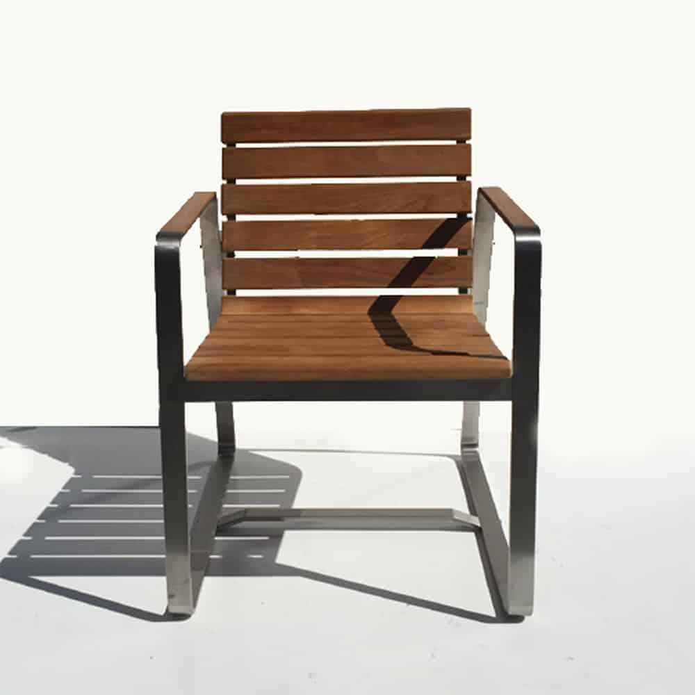 Teak Steel Outdoor Dining Chair - Rialto - Teak Patio ...