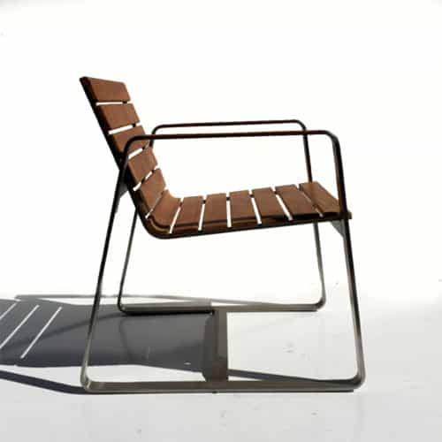 Teak steel modern outdoor dining chair
