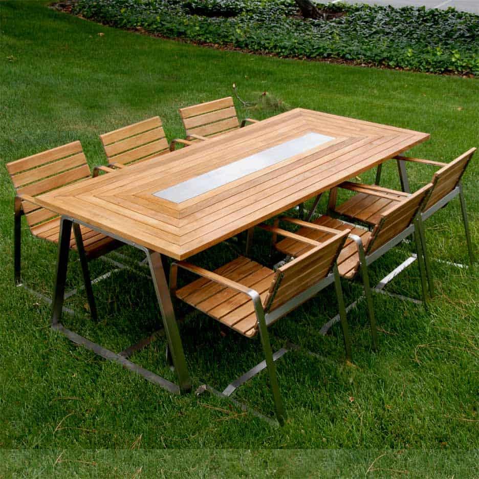 Teak Steel Outdoor Dining Chair Regnatt Teak Patio Furniture Teak Outdoor Furniture Teak Garden Furniture