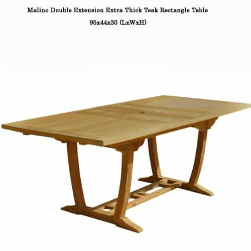 teak double extension rectangle table