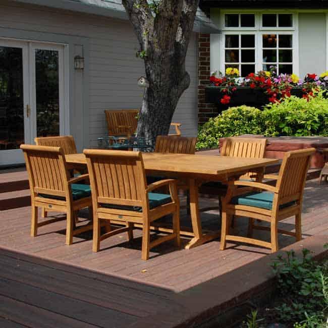 7 Pc Teak Patio Dining Table Set Agean Rectangular Table With 2 Arm 4 Titan Chairs Teak Patio Furniture Teak Outdoor Furniture Teak Garden Furniture