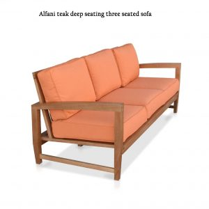 Modern Teak Outdoor Deep Seating Three Seated Sofa-Alfani