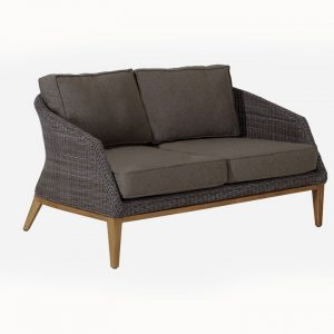 Modern Teak Wicker Loveseat Lounge Seat For Outdoors – Grace