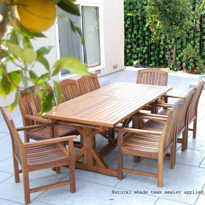 Teak Garden Table >> Teak Garden Table Set Heritage Rectangular Extension Table Zaire Arm Chairs