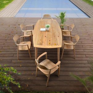 83 inch Scandinavian Teak Patio Rectangle Dining Table – Lara