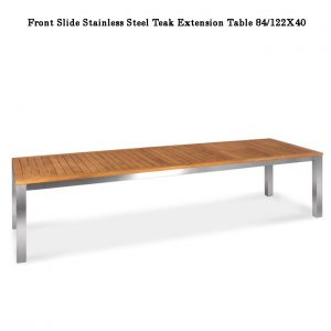 122 inch Teak-Steel Outdoor Front slide Extension Rectangular Table – Signature