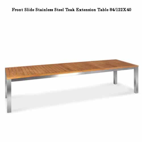 Large steel teak patio table