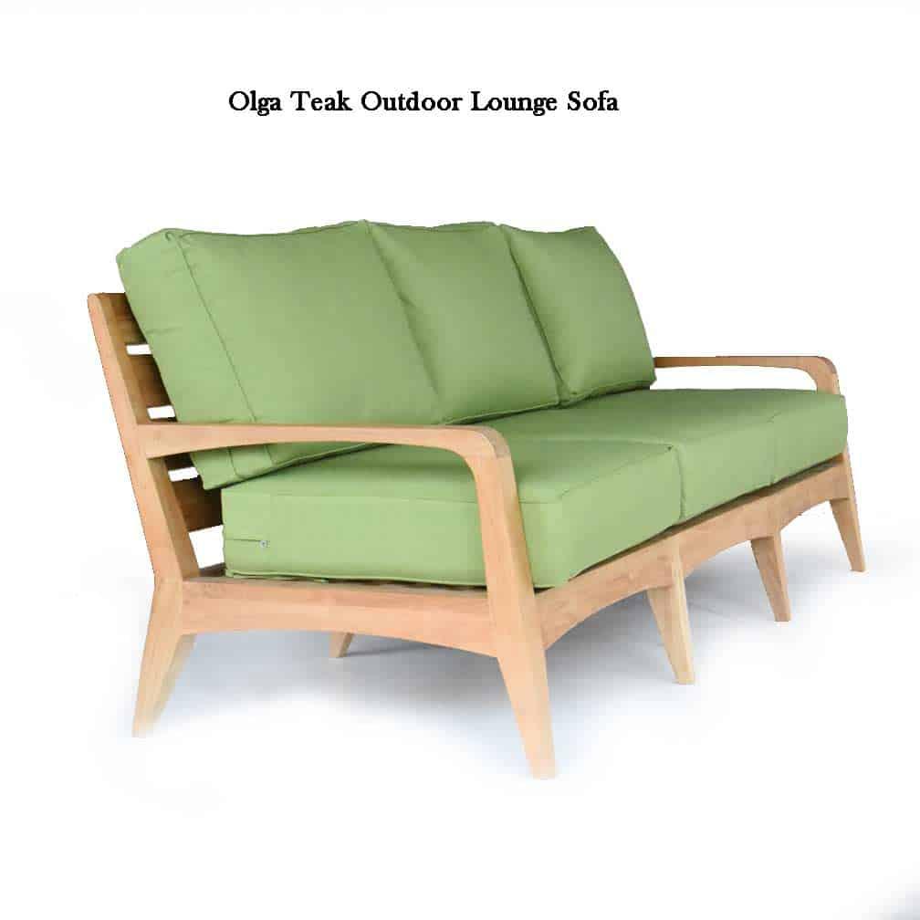 Mid Century Modern Teak Patio Three Seated Sofa Lounge Seat - Olga