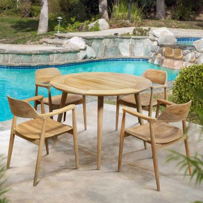 5 Pc Mid century Teak Patio Dining for Four – Round Lara table Lara 4 Chairs