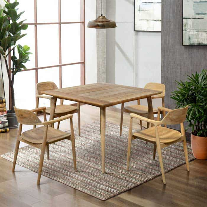 5 Pc Mid Century Teak Outdoor Dining For Four Square