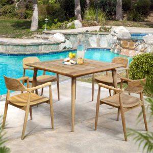 Mid Century Modern Teak Patio Dining Arm Chair – Lara