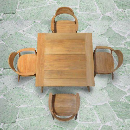 Mid century teak square outdoor dining table lara 2
