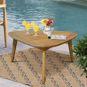 Mid century Modern Teak Outdoor Triangle Coffee Table – Impression