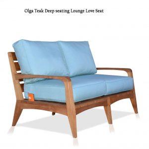 Mid Century Modern Teak Patio Loveseat Lounge Seat – Olga