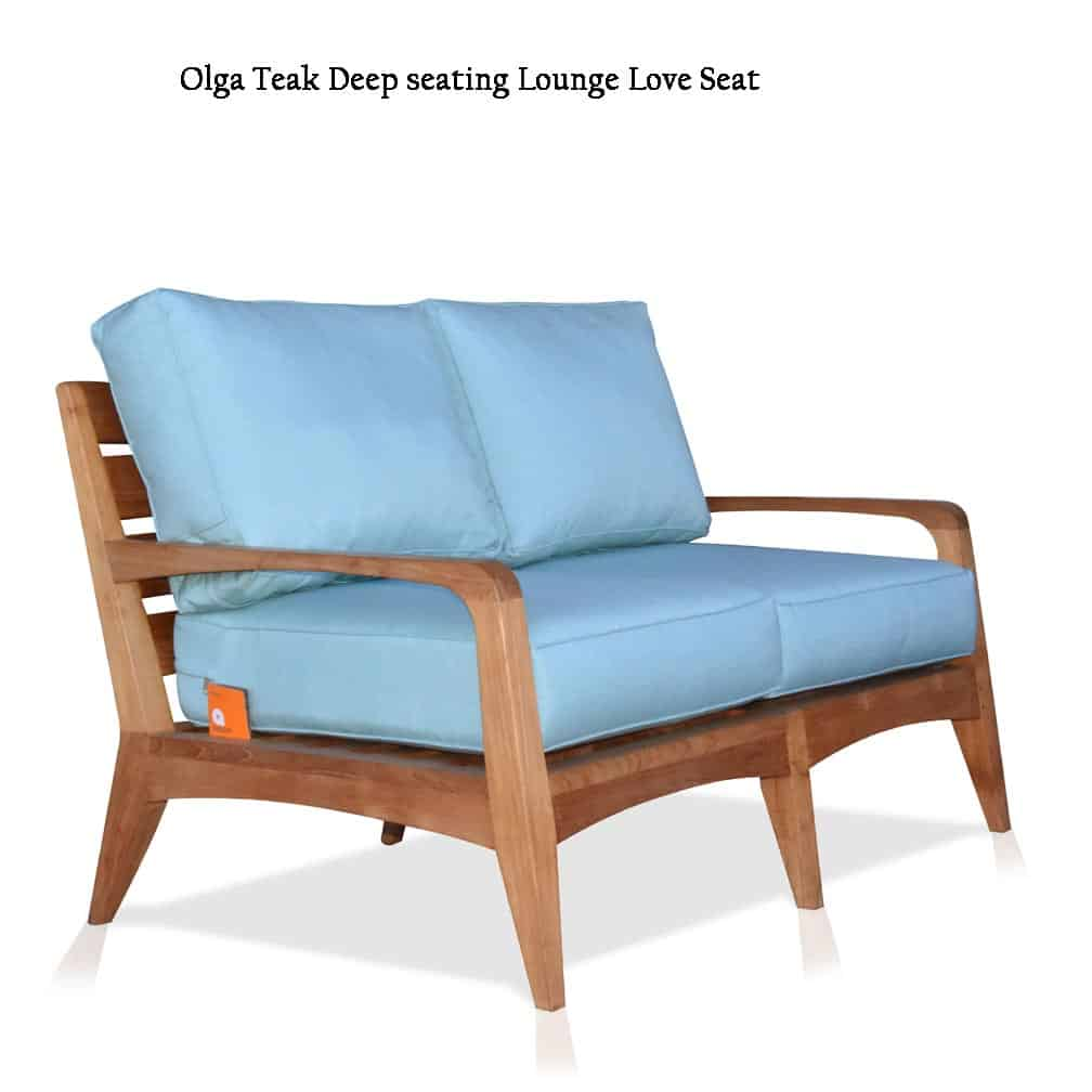 Magnificent Mid Century Modern Teak Patio Loveseat Lounge Seat Olga Short Links Chair Design For Home Short Linksinfo