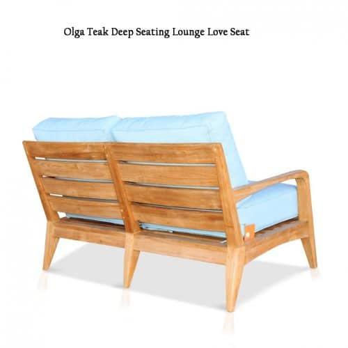 Olga teak loveseat with sunbrella cushions