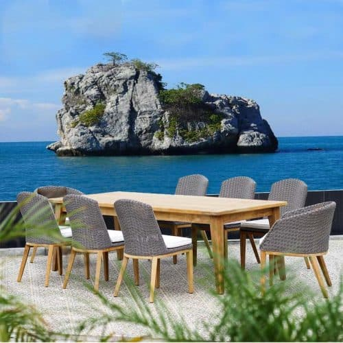 Piedra teak patio dining table with chairs