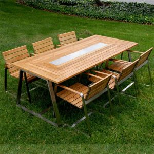 7 Pc Stainless steel Teak Modern Outdoor Rectangular Dining Table Set – Regnatt