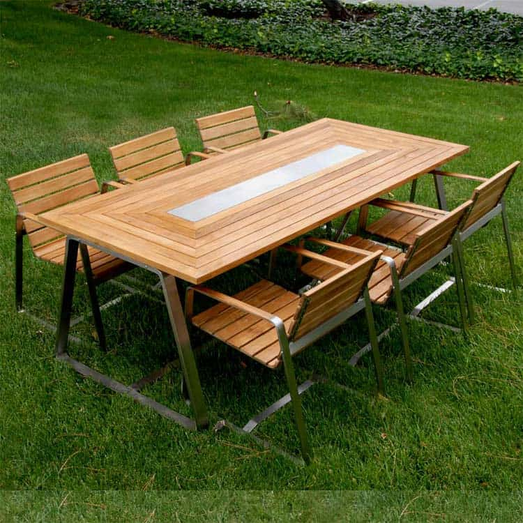 7 Pc Stainless Steel Teak Modern Outdoor Table Set Rialto Rectangle And 6 Chairs