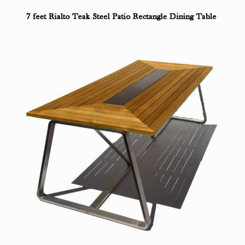 Rialto teak steel patio dining table 1