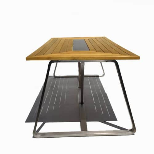 Rialto teak steel patio dining table 2