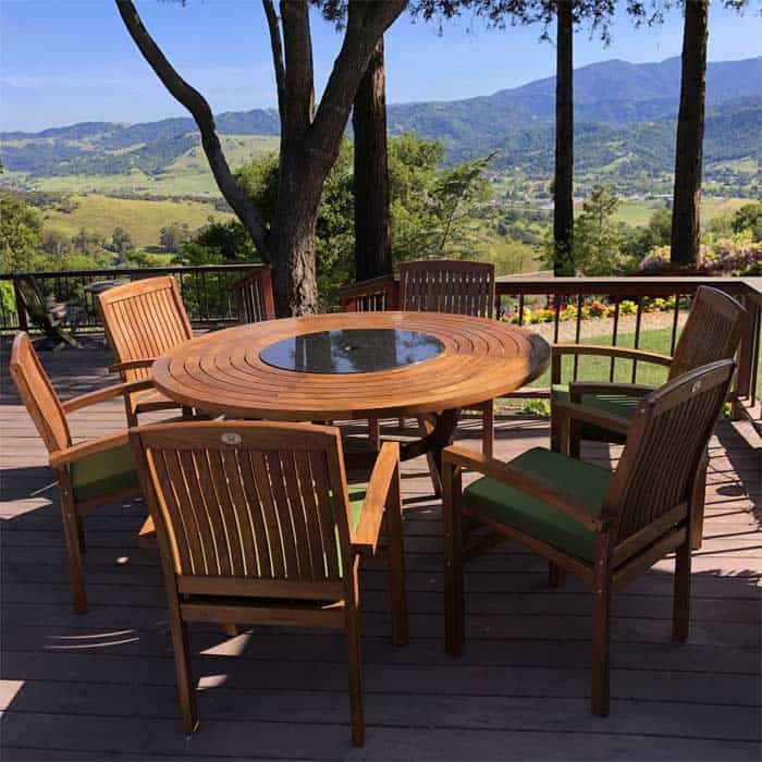 7 Pc Teak Outdoor Round Dining Table Set With Cushions Olga And Tenafly Teak Patio Furniture Teak Outdoor Furniture Teak Garden Furniture