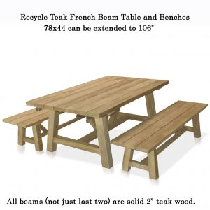 7 to 9.5 feet Recycle Teak Rectangular – French Beam Table – rustic white wash