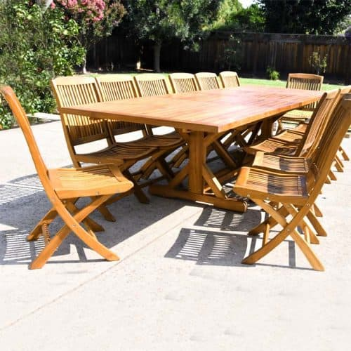 Teak Double extension outdoor beam table large