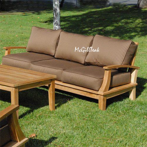 Teak outdoor deep seating lounge sofa