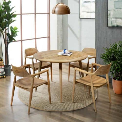 Teak outdoor round table dining set lara 2