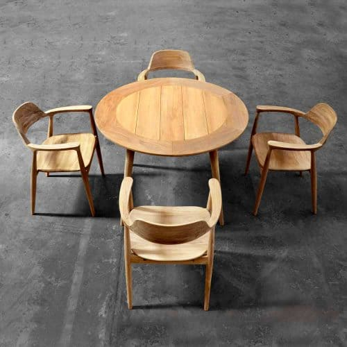 Teak outdoor round table dining set lara 3