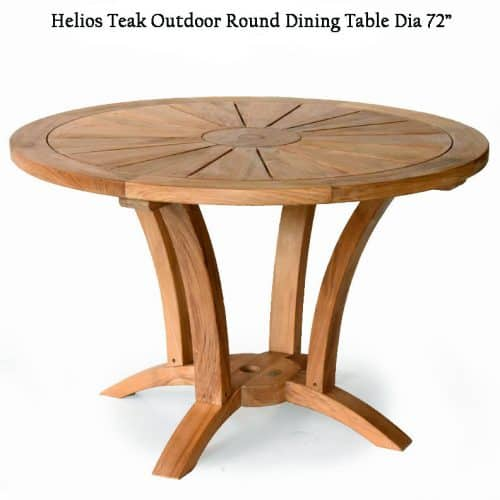 Teak round patio dining table