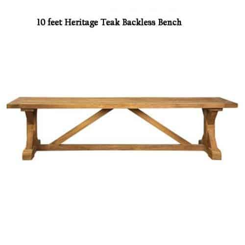 10 feet long teak backless heritage bench
