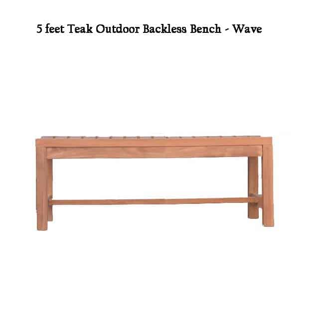 Super 5 Feet Teak Outdoor Patio Backless Waiting Bench Wave Ibusinesslaw Wood Chair Design Ideas Ibusinesslaworg