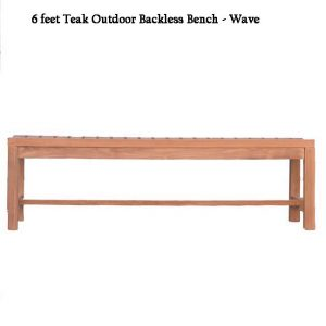 6 feet Teak Outdoor Patio Backless Waiting Bench – Wave
