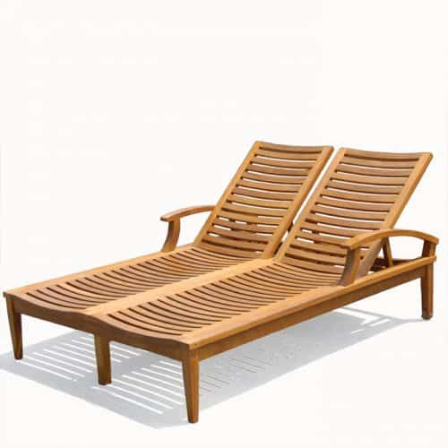 Bali double teak chaise lounger
